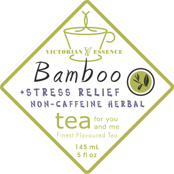 Label of our Bamboo Stress Relief Wellness Tea