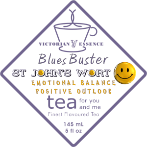 Label of our Blues Buster Happy Tea Wellness Tea