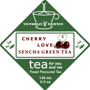 Label of our Cherry Love Sencha Green Tea
