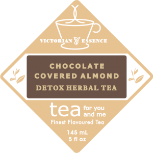 Label of our Chocolate Covered Almond Detox Wellness Tea