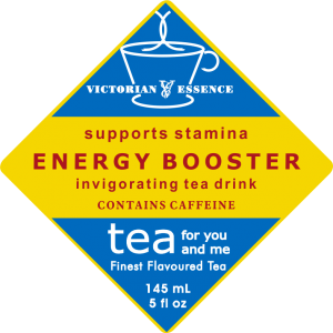 Label of our Energy Booster Tea Drink Wellness Tea