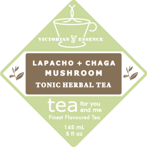 Label of our Lapacho & Chaga Wellness Tea