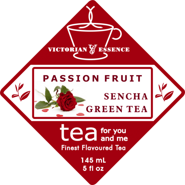 Label of our Passion Fruit Sencha Green Tea