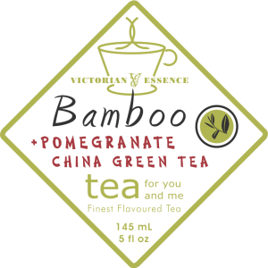 Label of our Pomegranate and Bamboo Green Tea