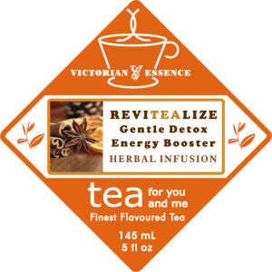 Label of our Revitealize Detox & Energy Wellness Tea