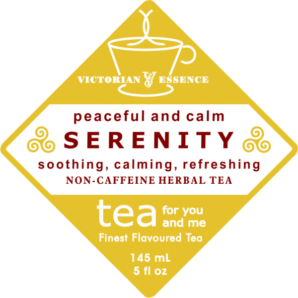Label of our SERENITY peaceful and calming Wellness Tea