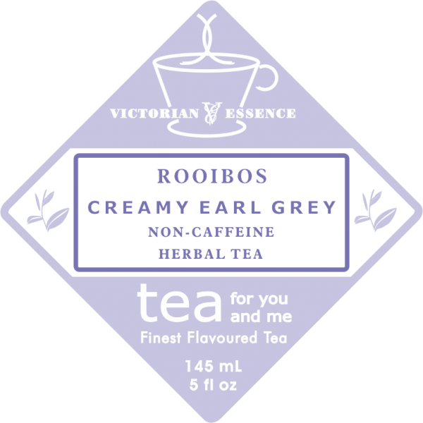 Label of our Creamy Earl Grey Rooibos Tea