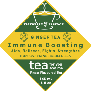 Label of our Immune Boosting Ginger Wellness Tea